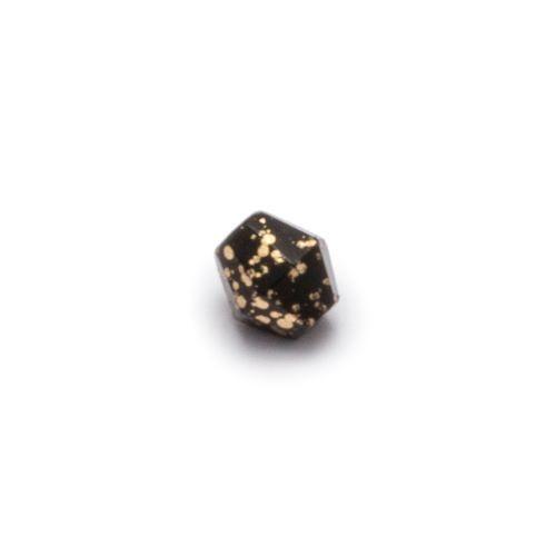 Czarny nakrapiany złotem fasetowany romb (nr 13)